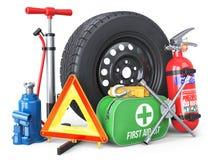 Un ensemble d'accessoires des véhicules à moteur Roue de secours, extincteur, illustration de vecteur