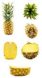 Un ensemble d'ananas dans différentes positions Photo stock