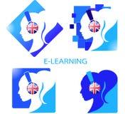 Un ensemble d'apprentissage en ligne de logos Image stock