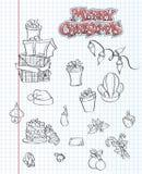 Un ensemble d'articles de Noël Cadeaux, jouets, guirlandes Forme noire Ensemble 1 Image stock