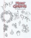 Un ensemble d'articles de Noël Cadeaux, jouets, guirlandes Forme noire Positionnement 2 Photo stock