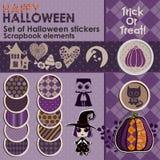 Un ensemble d'autocollants ou d'icônes de Halloween Photographie stock libre de droits