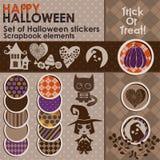 Un ensemble d'autocollants ou d'icônes de Halloween Image stock