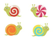 Un ensemble d'escargots de sucrerie de bande dessinée Photos stock