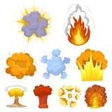 Un ensemble d'icônes au sujet de l'explosion Diverses explosions, un nuage de fumée et le feu Icône d'explosions dans la collecti illustration de vecteur