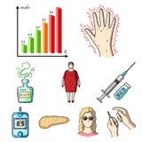 Un ensemble d'icônes au sujet des diabètes Photographie stock libre de droits