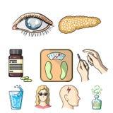 Un ensemble d'icônes au sujet des diabètes Illustration Libre de Droits