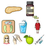 Un ensemble d'icônes au sujet des diabètes Symptômes et traitement de diabète Icône de diabète dans la collection d'ensemble sur  Illustration de Vecteur