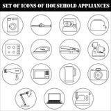 Un ensemble d'icônes des appareils électroménagers électriques de ménage Images stock