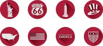 Un ensemble d'icônes plates des Etats-Unis images libres de droits