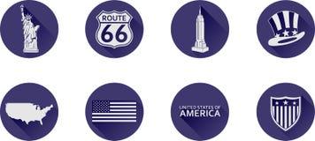 Un ensemble d'icônes plates des Etats-Unis photo libre de droits