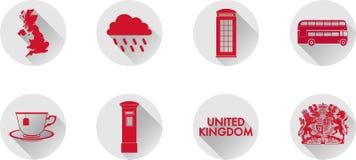 Un ensemble d'icônes plates du R-U photographie stock libre de droits