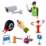 Un ensemble d'icônes pour les voitures et les bicyclettes se garantes Fines et éléments du stationnement Icône de zone de station Image libre de droits