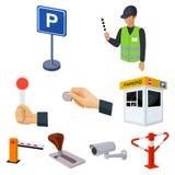 Un ensemble d'icônes pour les voitures et les bicyclettes se garantes Fines et éléments du stationnement Icône de zone de station Photos stock