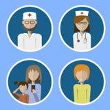 Un ensemble d'icônes soignent, infirmière et patients Images libres de droits