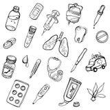 Un ensemble d'icônes tirées par la main sur une médecine de thème Photographie stock libre de droits