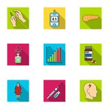 Un ensemble d'icônes au sujet des diabètes Symptômes et traitement de diabète Icône de diabète dans la collection d'ensemble sur  Image libre de droits