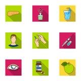 Un ensemble d'icônes au sujet des diabètes Symptômes et traitement de diabète Icône de diabète dans la collection d'ensemble sur  Photographie stock