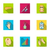 Un ensemble d'icônes au sujet des diabètes Symptômes et traitement de diabète Icône de diabète dans la collection d'ensemble sur  Images stock