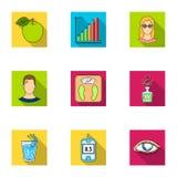 Un ensemble d'icônes au sujet des diabètes Symptômes et traitement de diabète Icône de diabète dans la collection d'ensemble sur  Illustration Stock