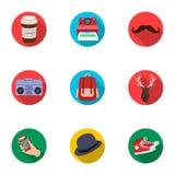 Un ensemble d'icônes au sujet du style d'un hippie Un style particulier de la jeunesse Icône de style de hippie dans la collectio Photographie stock