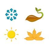 Un ensemble d'icônes colorées des saisons Photo libre de droits