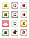 Icônes de café Photos stock