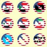 Un ensemble d'icônes de vecteur interdisant le voyage pour des citoyens de quelques pays Images libres de droits