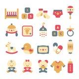 Un ensemble d'icônes mignonnes de bébé dans le style plat Image stock