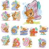 Un ensemble d'illustrations de vecteur avec un ours de nounours brun et chiffres et symboles mathématiques Photographie stock