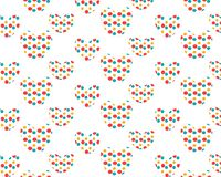 Un ensemble d'image symétrique de coeurs, aux coeurs de petits détails colorés illustration stock