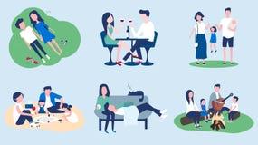 Un ensemble d'images sur le thème du temps de dépense de famille ensemble illustration stock
