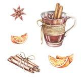 Un ensemble d'ingrédients pour le vin chaud Illustration d'aquarelle d'aspiration de main Photo libre de droits