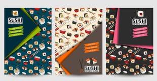 Un ensemble d'insectes pour le bar à sushis ou le restaurant Brochires de nourriture ou couverture asiatiques de menu Photo libre de droits