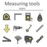 Un ensemble d'instruments de mesure utilisés dans la construction pour mesurer des distances et d'autres variables Images libres de droits