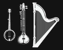 Un ensemble d'instruments de musique Harpe stylisée Illustration noire et blanche de banjo sitar Collection de musical ficelé Images stock