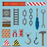 Un ensemble d'objets et d'outils de pixel photo libre de droits