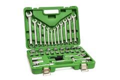Un ensemble d'outils pour les travaux mécaniques d'isolement sur le fond blanc Ensemble de réparation de clés image libre de droits