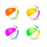 Un ensemble de ballons de plage gonflables colorés Boules tricolores réalistes avec des réflexions et ombres d'isolement sur le b illustration de vecteur