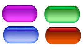 Un ensemble de 4 boutons en verre avec l'éclat différent illustration de vecteur