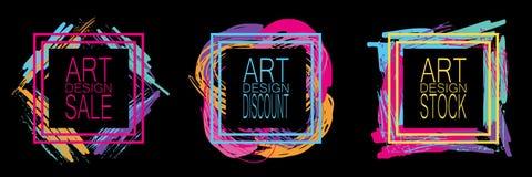 Un ensemble de cadres multicolores pour un grand choix de publicité Pour la conception de site Web, stockez illustration libre de droits