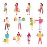 Un ensemble de caractères et d'achats des personnes avec des paquets Illustration de vecteur d'une conception plate Images stock