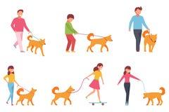 Un ensemble de caractères marchent avec un chien Dirigez l'illustration dans le style simple sur le fond d'isolement par blanc Photographie stock libre de droits