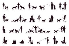 Un ensemble de caractères marchent avec un chien Silhouette Dirigez l'illustration dans le style simple sur le fond d'isolement p Photo libre de droits