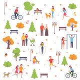 Un ensemble de caractères marchent en parc pendant la saison d'automne Fond avec des personnes Illustration de vecteur dans le st Photos libres de droits