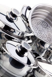 Un ensemble de casseroles, acier inoxydable Image stock