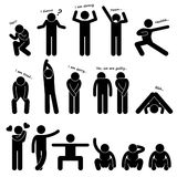 Pictogramme de langage du corps de posture de personnes d'homme Photos stock