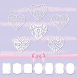 Un ensemble de coeurs et une collection de cadres de différentes formes en coupant le papier illustration stock