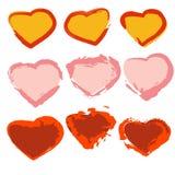 Un ensemble de coeurs peints Illustration de Vecteur