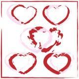 Un ensemble de coeurs peints Illustration Libre de Droits